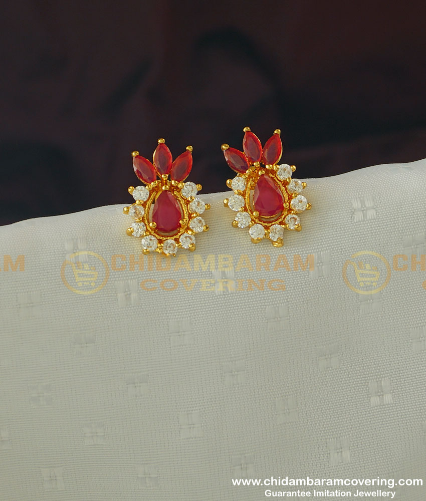 ERG364 - Unique White Ruby Stone Pineapple Design Stud Earring Buy Online
