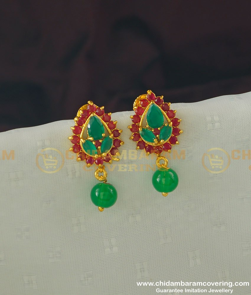 ERG365 - One Gram Gold Ruby Emerald Designer Stud Earring Buy Online