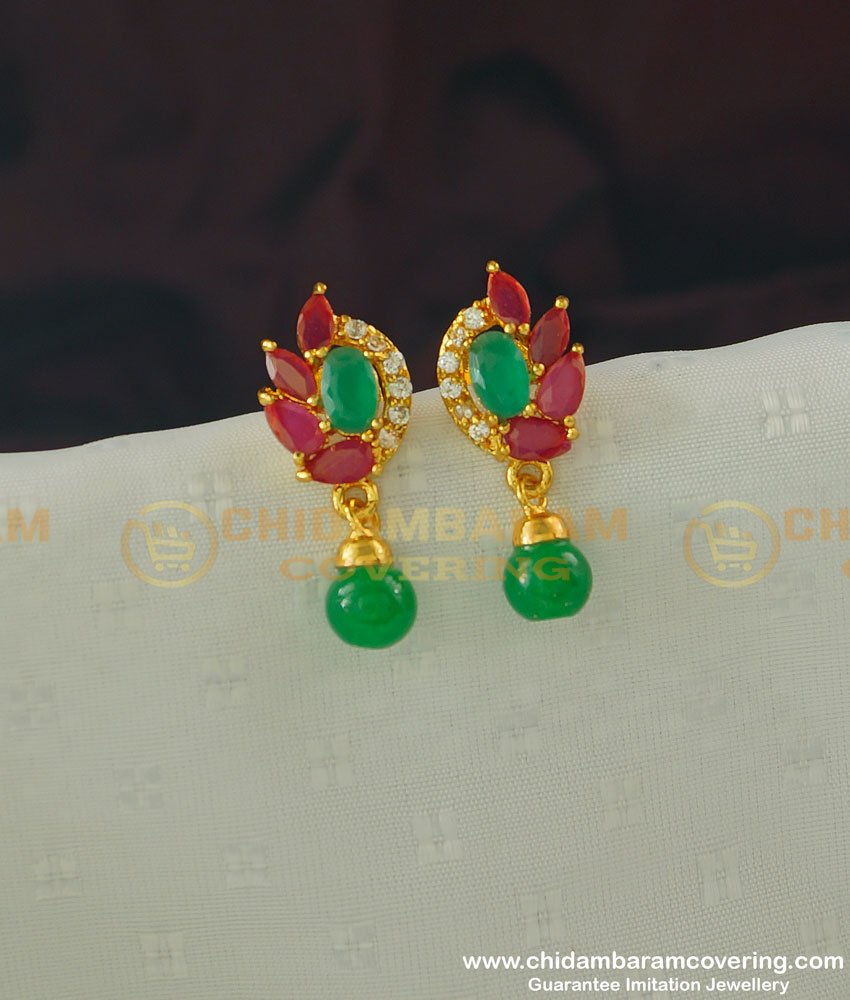 ERG367 - Simple Gold Earring Design First Quality CZ Stone Earring Buy Online