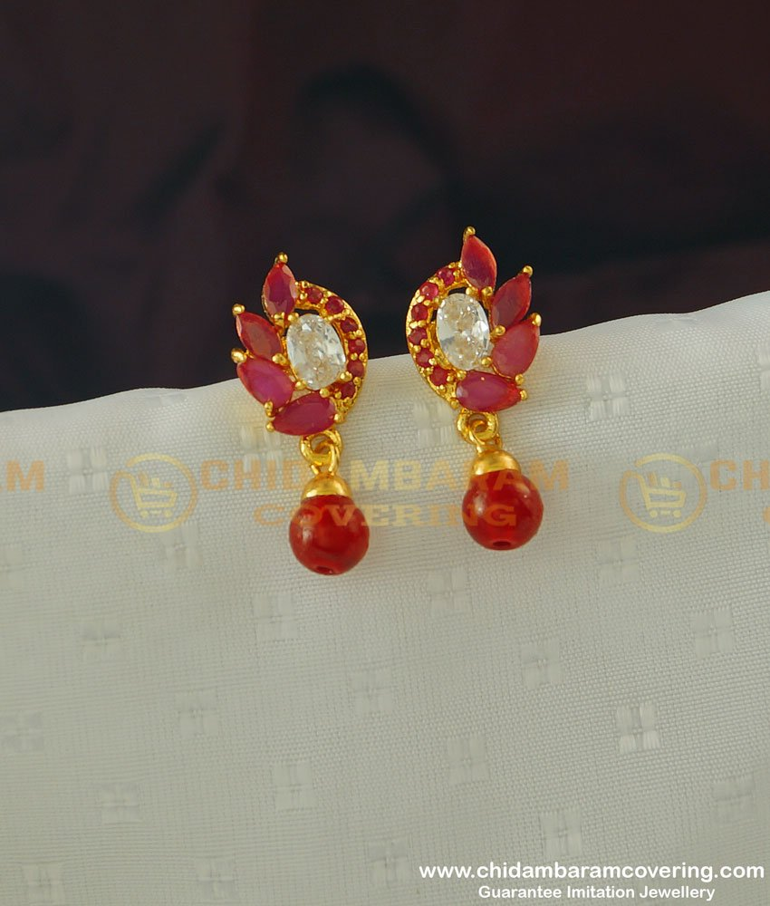 ERG368 - Attractive Gold Earring Design First Quality Red and White Stone Earring Buy Online
