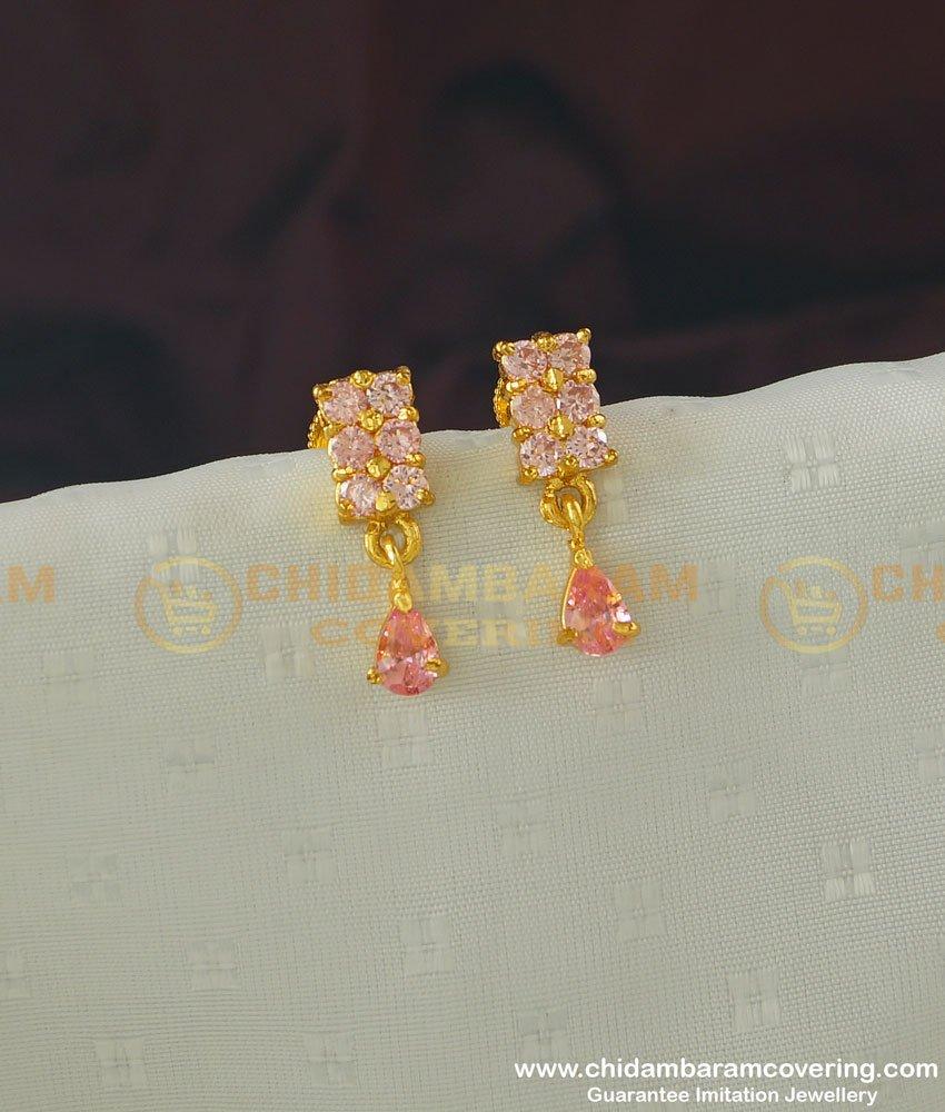 ERG369 - Cute Rose Gold Pink Stone Earrings Gold Design Studs for School Girls