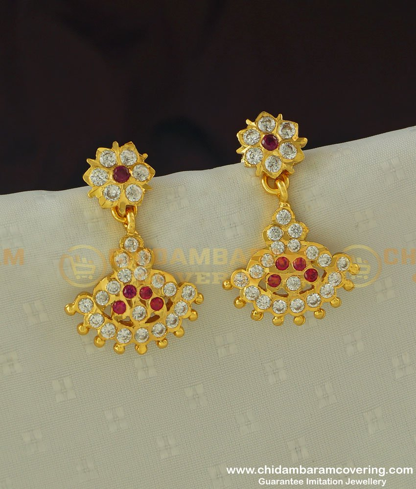 ERG378 - New Impon Earring Collection Long Danglers for Attigai Necklace