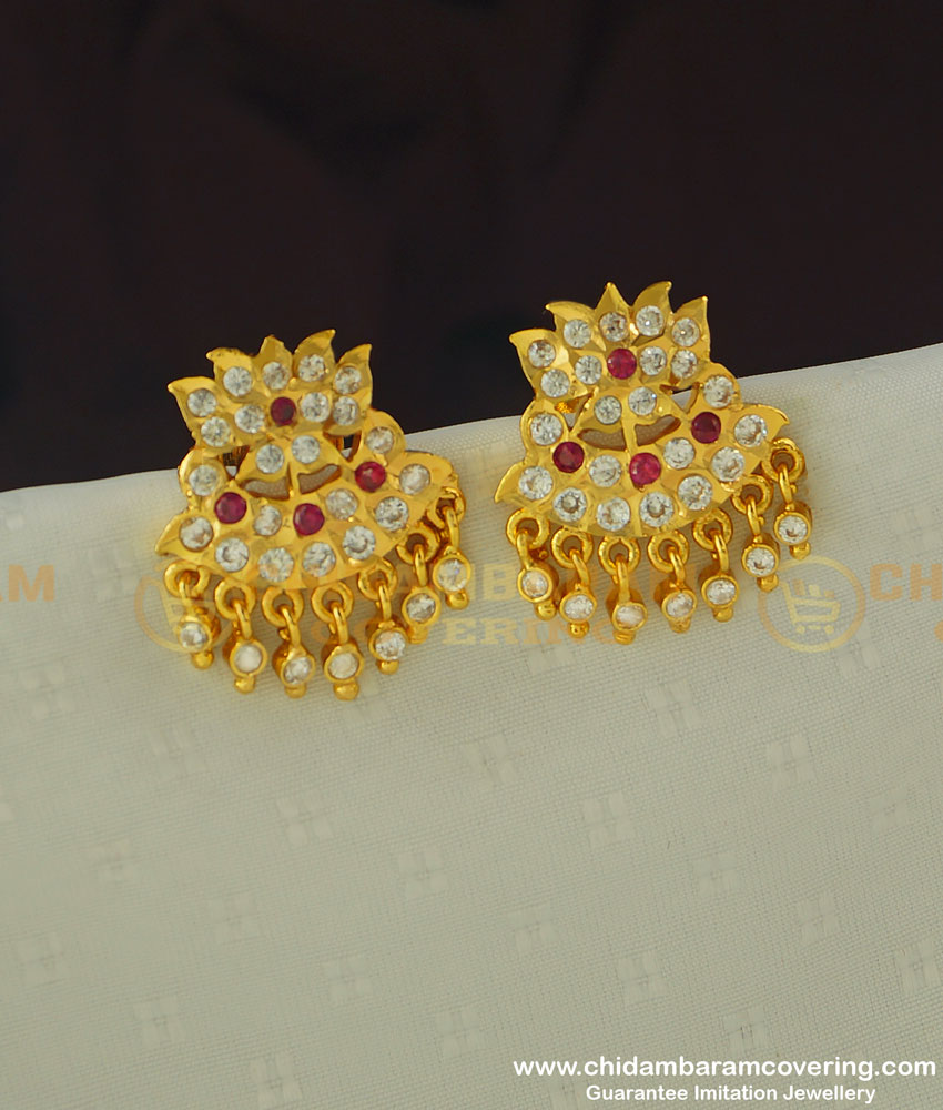 ERG383 - Traditional Panchaloha Lotus Flower Design Full Stone Studs for Women