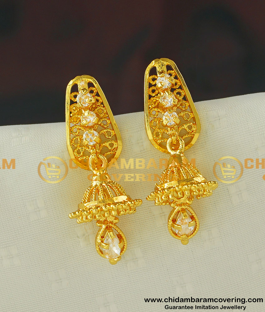 ERG395 - New Arrival Gold Design Ad Stone Jhumka Earring One Gram Gold Jewellery
