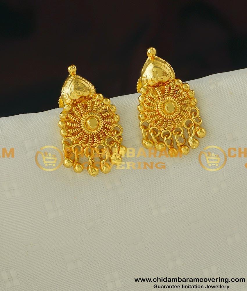 ERG397 - Trendy Kerala Gold Pattern Daily Wear Light Weight Stud Imitation Earrings Online