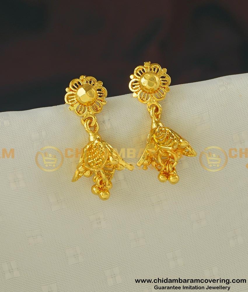 ERG398 - Beautiful Cute Small Petal Shape Jhumkas Gold Plated Jhimiki Earring Designs Online Shopping