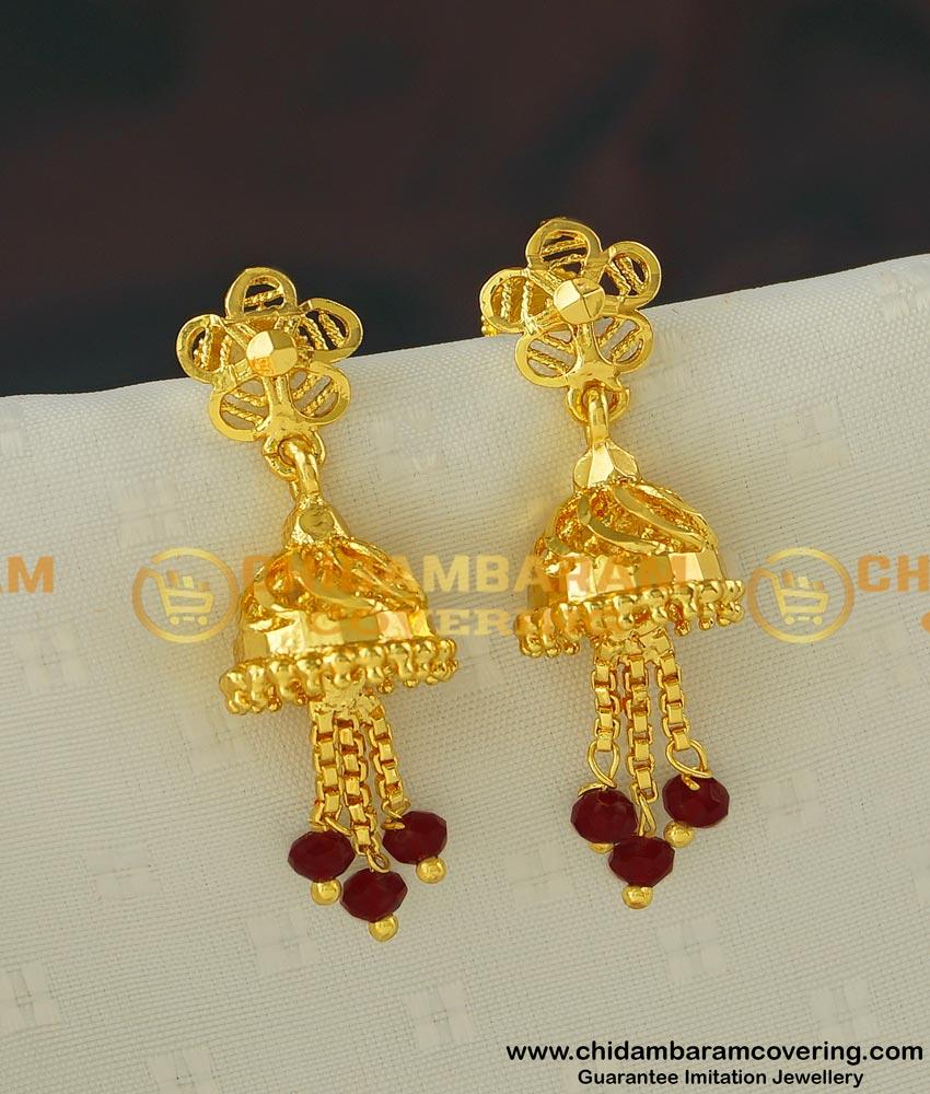 ERG400 - Semi Precious Maroon Crystal Tassel Gold Design Jhumka Earrings for Women