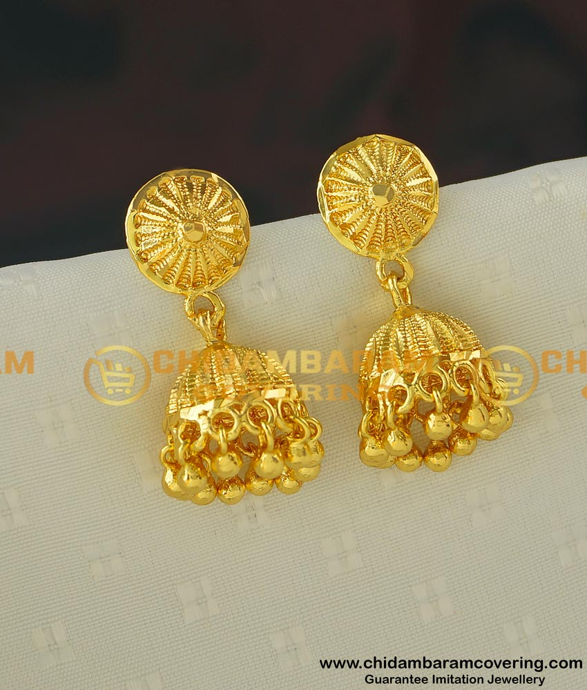 ERG403 - Latest One Gram Gold Medium Size Jhumkas Designs Online Collections