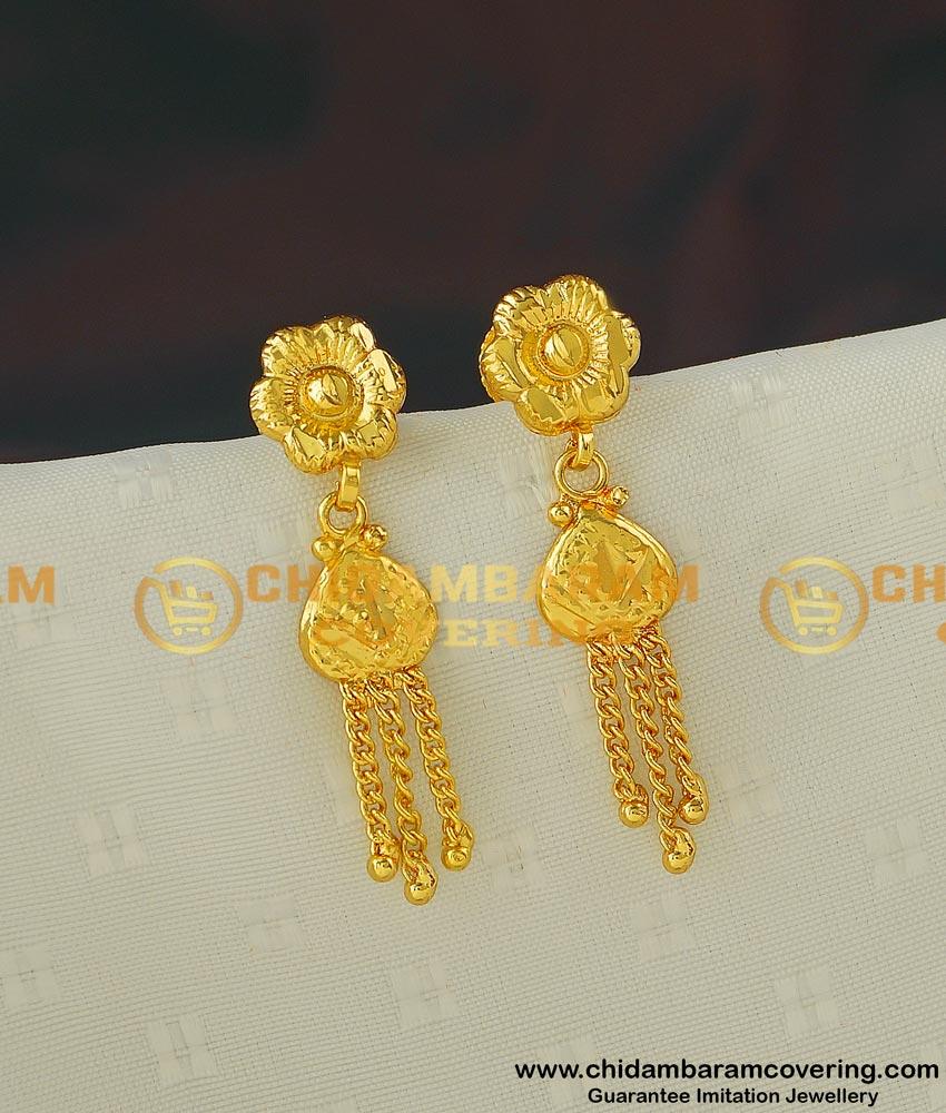 ERG408 - Pretty Flower Design Daily Wear Gold Plated Light Weight Earring for School Girls