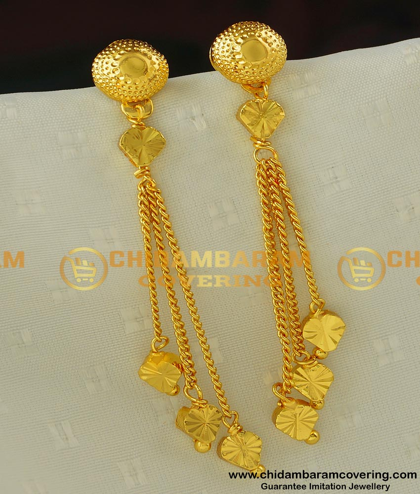 ERG414 - Trendy Gold Style Long Earring Design Imitation Jewellery Online