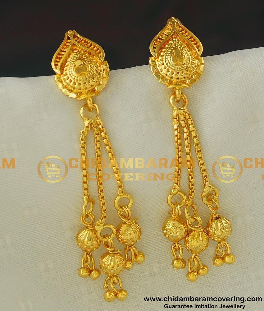 ERG415 - Unique Gold Pattern Long Earrings Designs for Western Dress