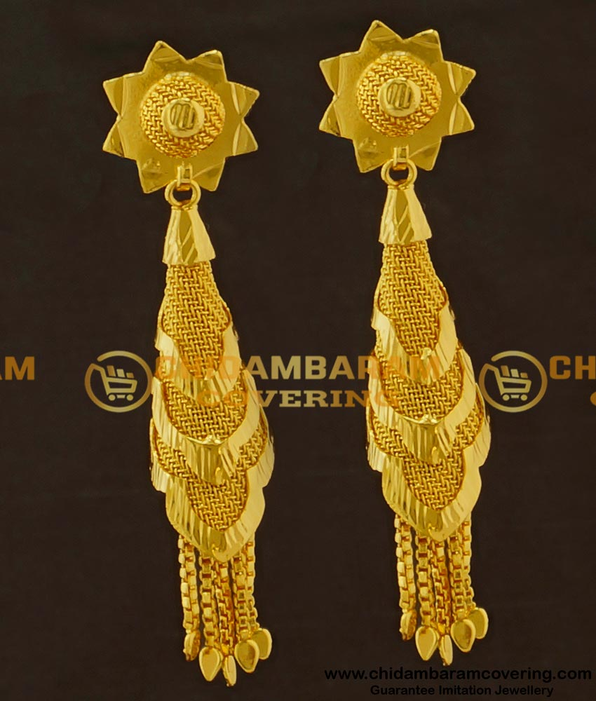 ERG417 - One Gram Gold Designer Cone Shaped Earrings Buy Online