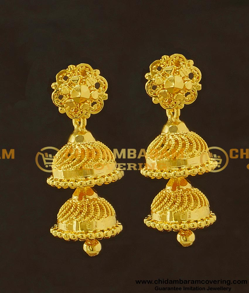 ERG421 - Gold Pattern Two Step Jhumkas Earing Indian Jewellery Buy Online