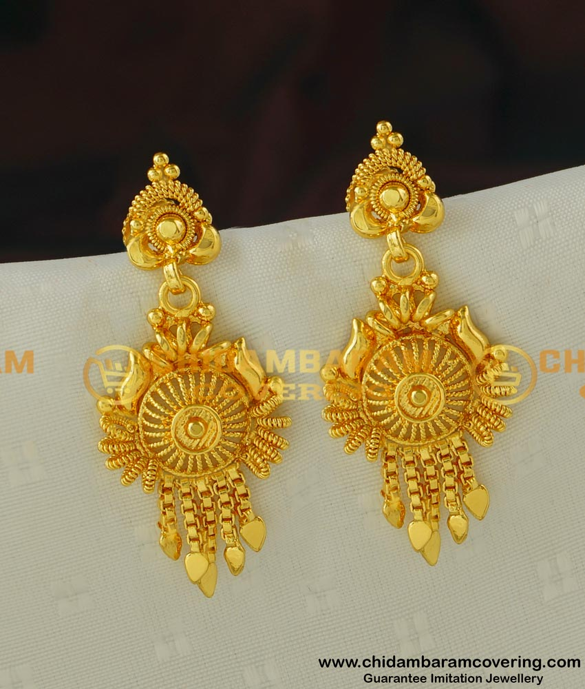 ERG423 - Beautiful Look Gold Earring Design One Gram Gold Jewellery Buy Online