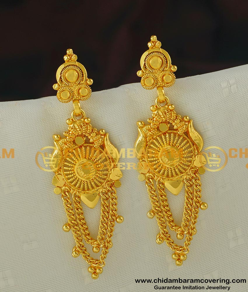 ERG424 - New Model Plain Danglers Earrings Gold Design Artificial Earrings Online