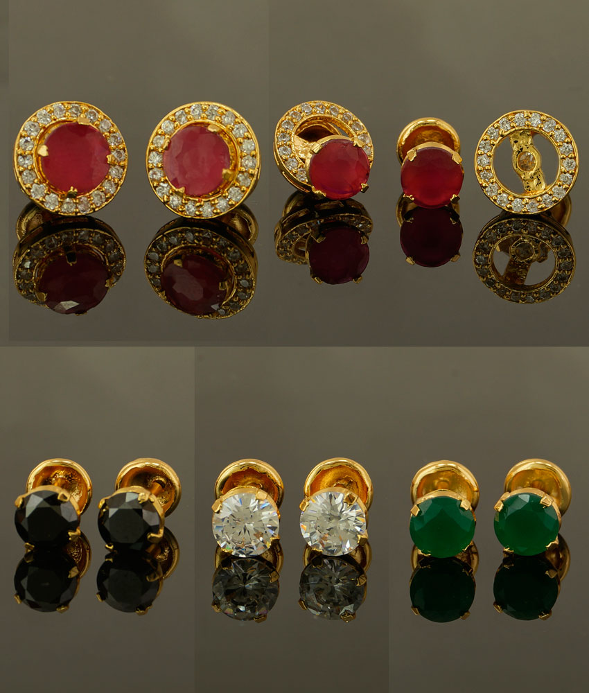 ERG426 - One Gram Gold High Quality Inter Changeable 4 Colour Stone Stud Earrings buy Online