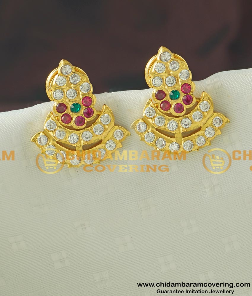 ERG429 - Micro Gold Plated Five Metal Stud Real Gold Like Guarantee Stone Earrings