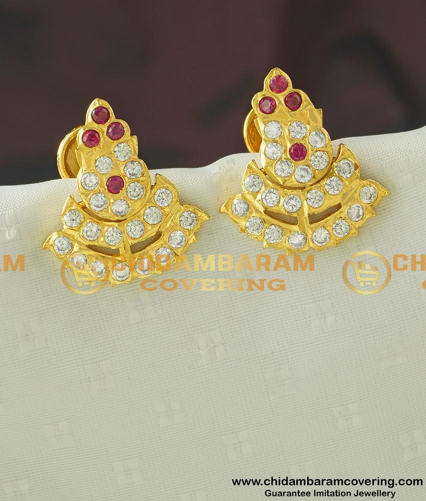 ERG430 - Impon Double Layer Big Size Stud Earrings Buy Online Shopping