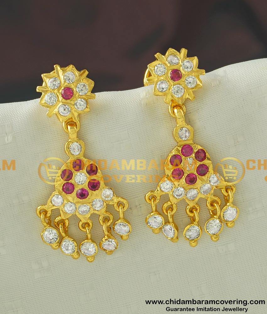 ERG434 - New Design Gold Design Stone Long Danglers Impon Earrings Best Price Buy Online