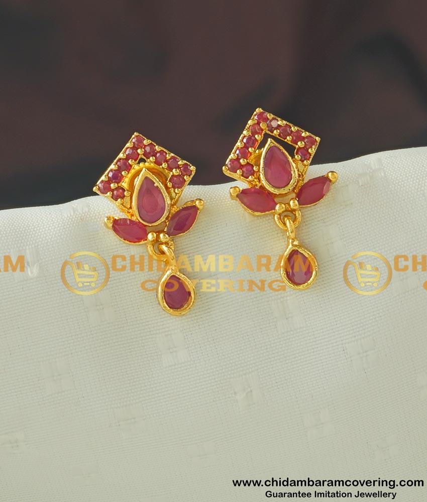 ERG436 - Cute Small High Quality Full Ruby Stone Earring Buy Online