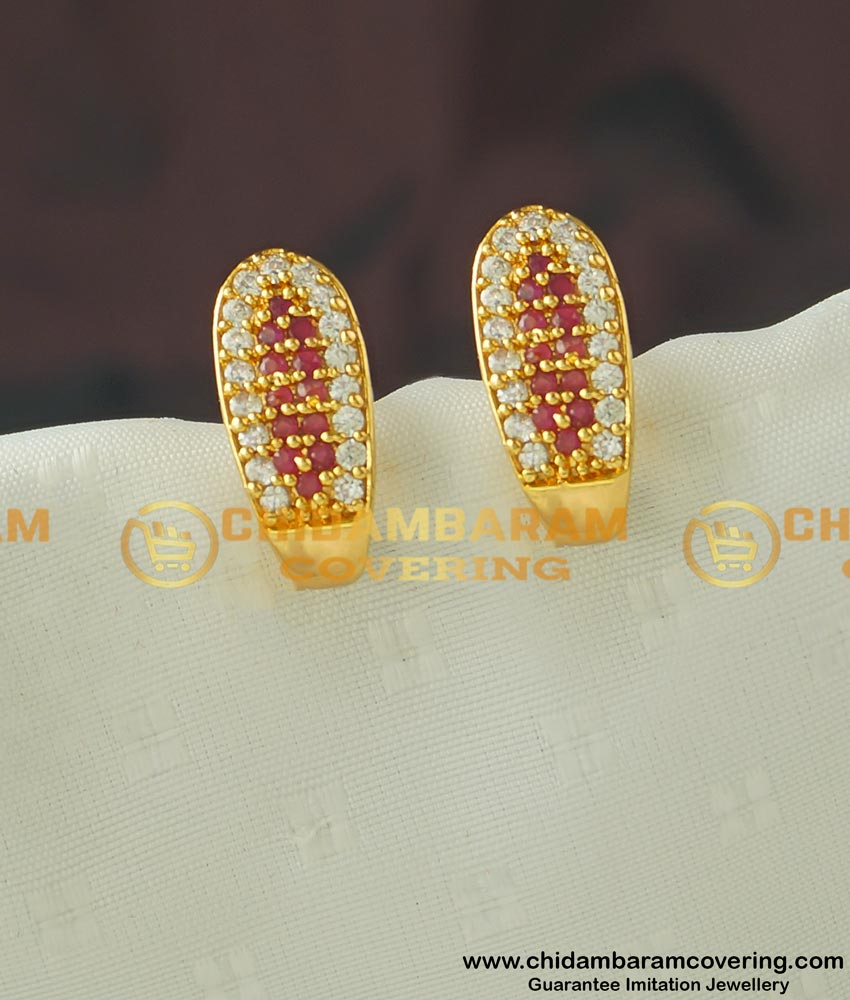 ERG437 - Beautiful Gold Stone Stud Design J Shape Earring Online