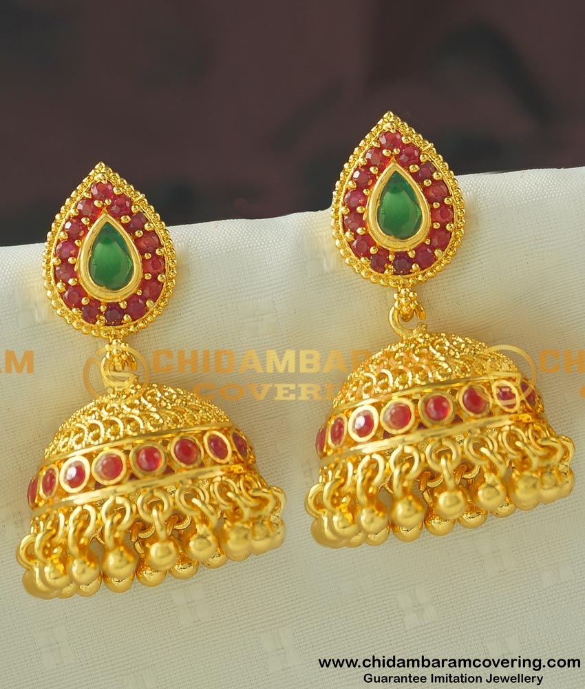 ERG444 - Latest Gold Antique Design One Gram Gold Stone Umbrella Jhumkas Earring Indian Jewelry Online