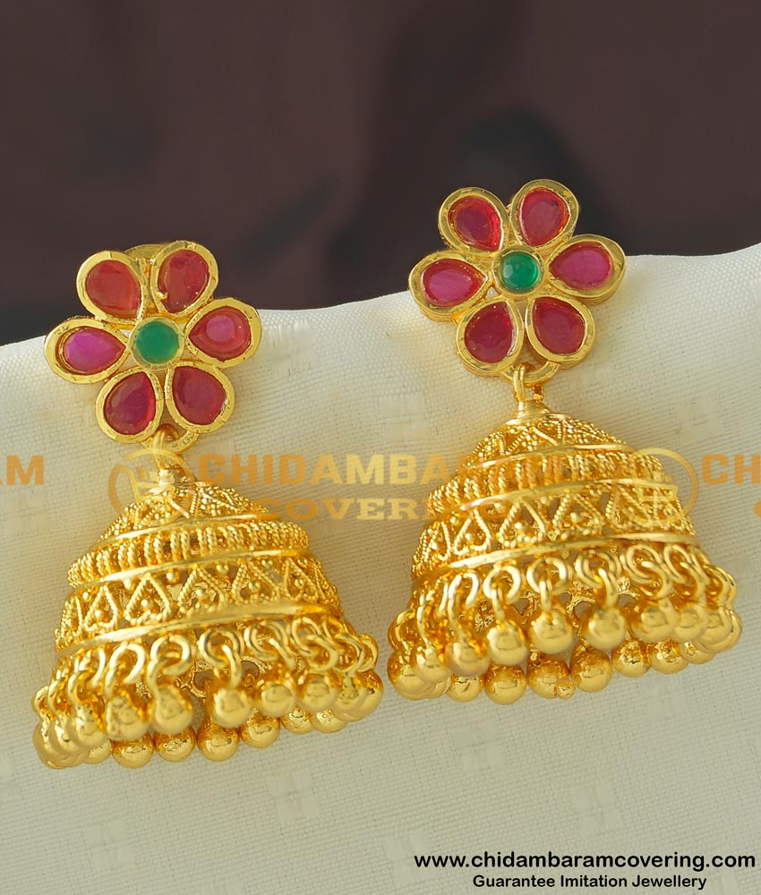 ERG445 - Buy Attractive Flower Design Bridal Heavy Gold Plated Stone Jhumkas Wedding Jhumkas Earring Online Shopping