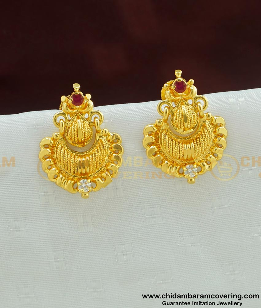 ERG453 - Traditional Gold Design Look One Gram Gold CZ Stone Earring for Women