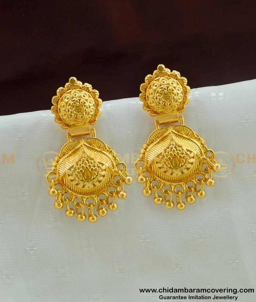 ERG457 - Latest Real Gold Design Dangler Gold Plated Earring Collection Online