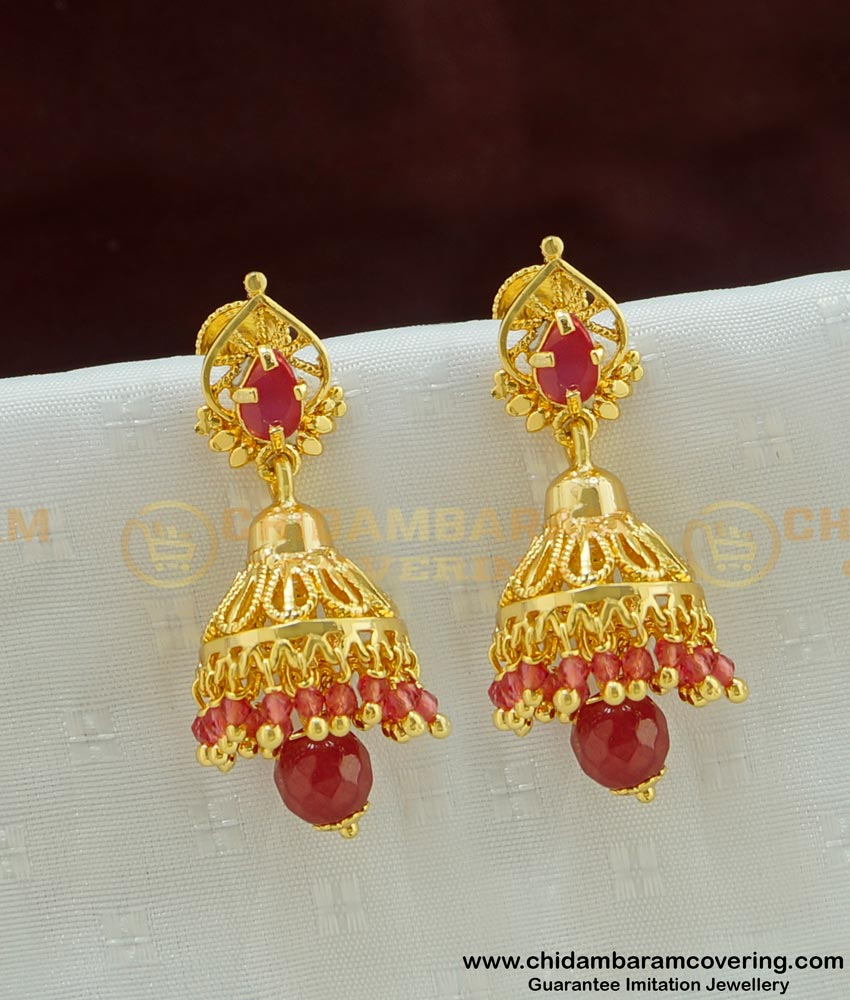 ERG459 - New Arrival Gold Design Stone and Beads Jhumkas Earing One Gram Gold Jewellery