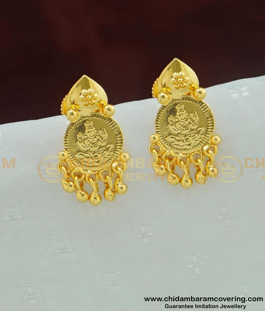 ERG462 - Gold Plated Small Size Lakshmi Devi coin Plain Ear Studs Buy Online
