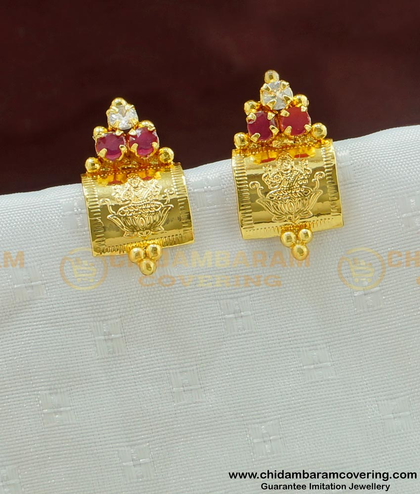 ERG469 - New Model CZ Stone Lakshmi Earring Gold Design Studs Chidambaram Covering Jewelry