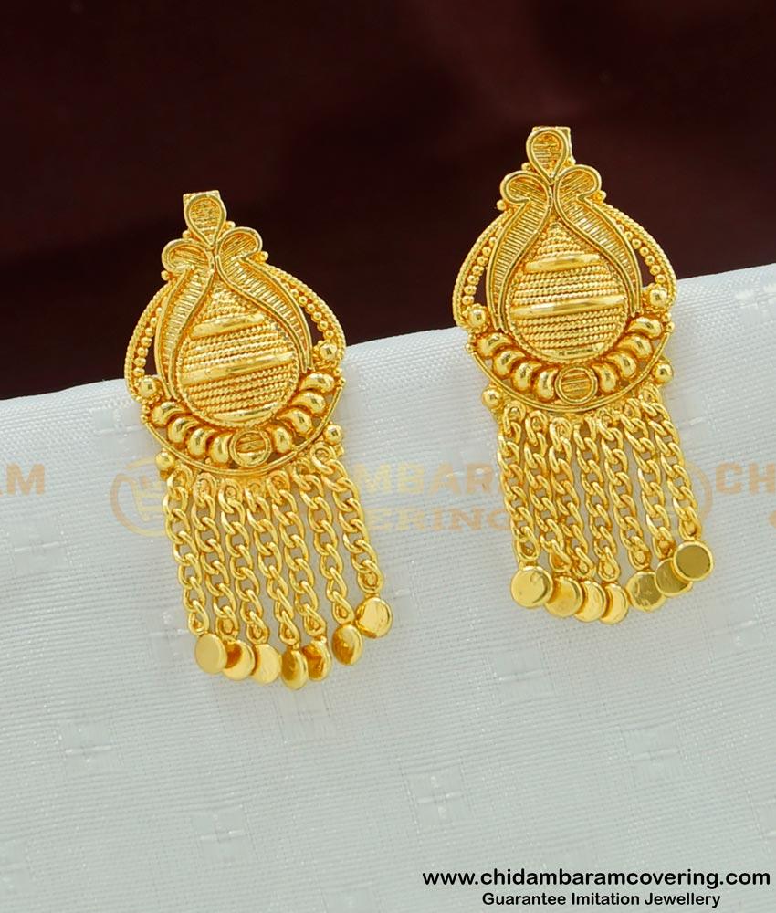ERG476 - Latest Kerala Model Daily Wear Gold Plated Ear Studs Designs Online