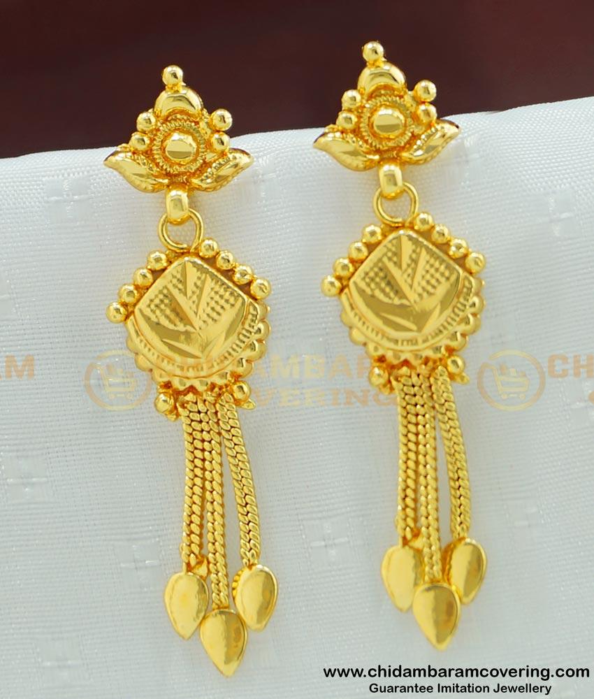 ERG478 - New Style Gold Covering Long Dangle Earrings Designs for Women