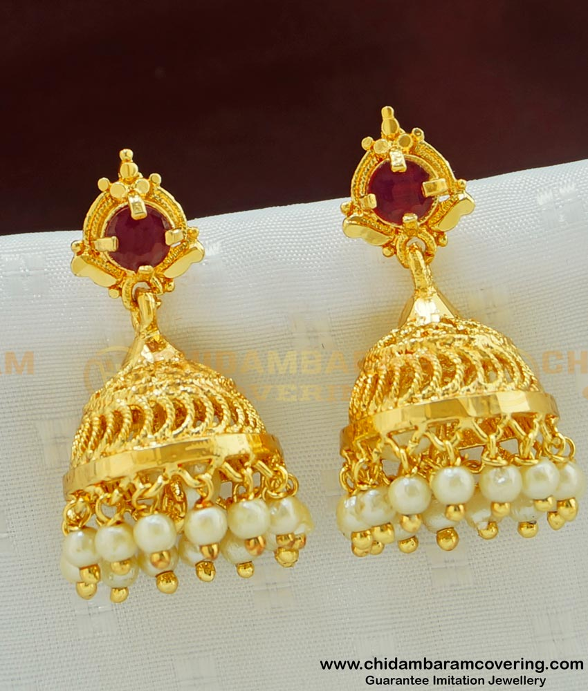 ERG480 - Attractive Pearl Ruby Stone Gold Plated Jhumkas Collection imitation Jewelry