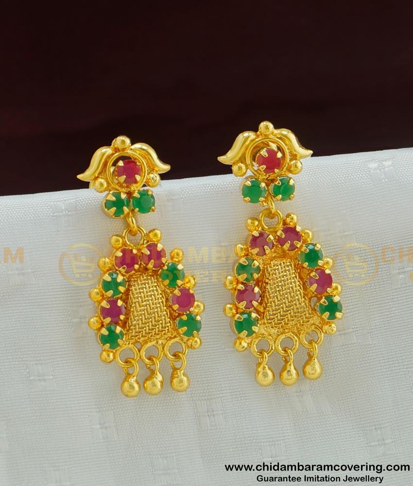 ERG483 - Beautiful Net Pattern Ruby Emerald Indian Gold Stone Earrings