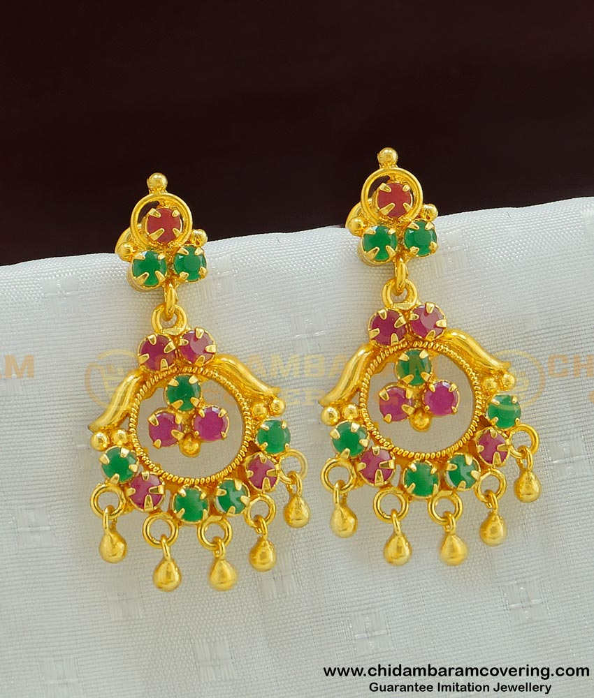 ERG489 - Gold Earring Design Daily Use Gold Plated Ruby Emerald Earring