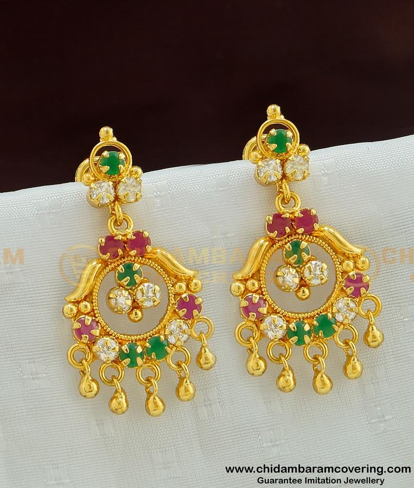 ERG490 - Latest Ad Multi Stone Earring One Gram Imitation Jewelry