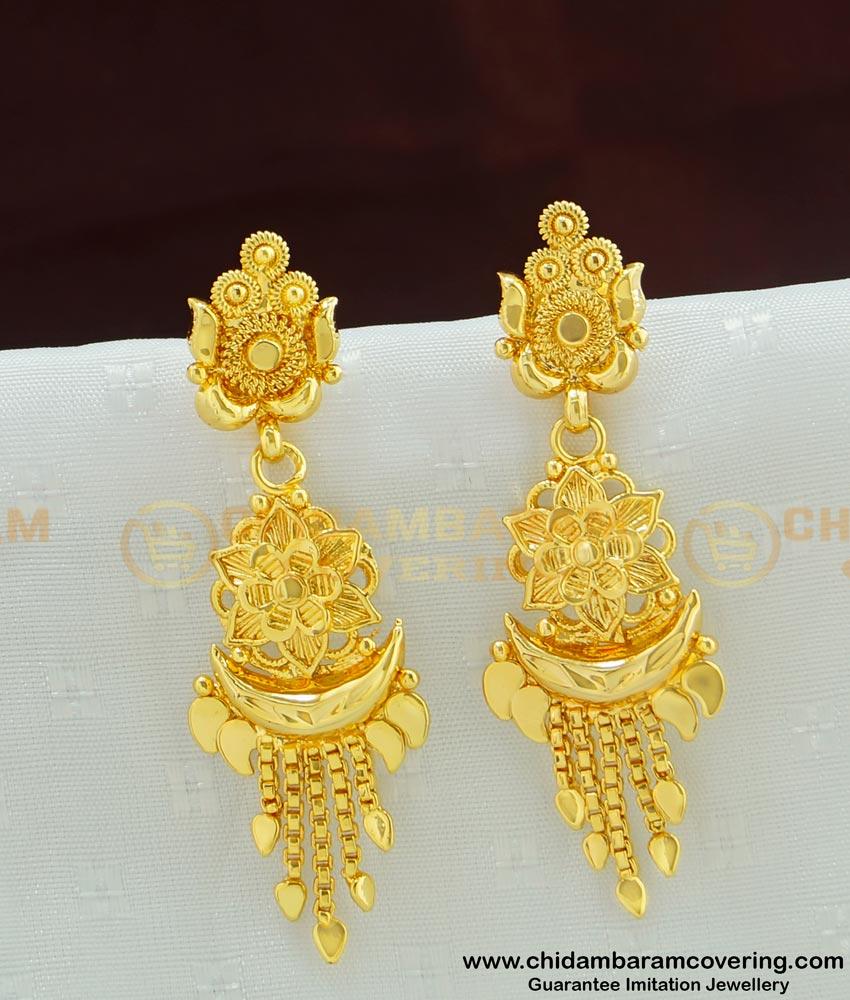 ERG499 - New Gold Pattern Flower Design Long Dangle Earrings for Women