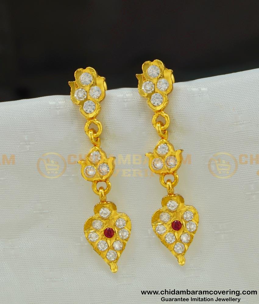 ERG512 - New Design five metal Stone Long Danglers Indian Gold Stone Impon Earrings