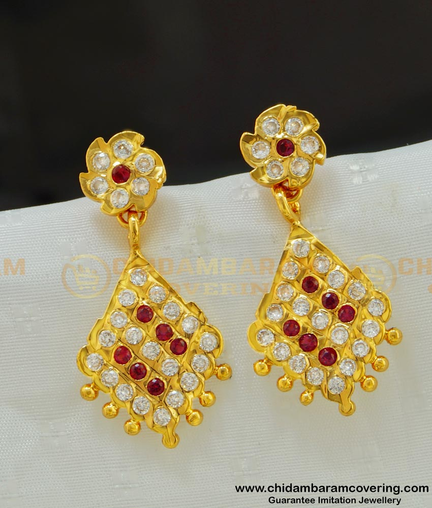 ERG514 - Unique New Design One Gram Gold Impon Ad Stone Long Earrings Buy Online
