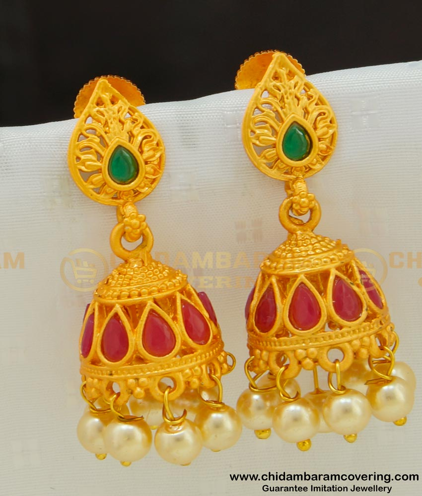 ERG520 - Premium Quality Matte Finish Party Wear Earrings Temple Jewellery Jhumkas Online