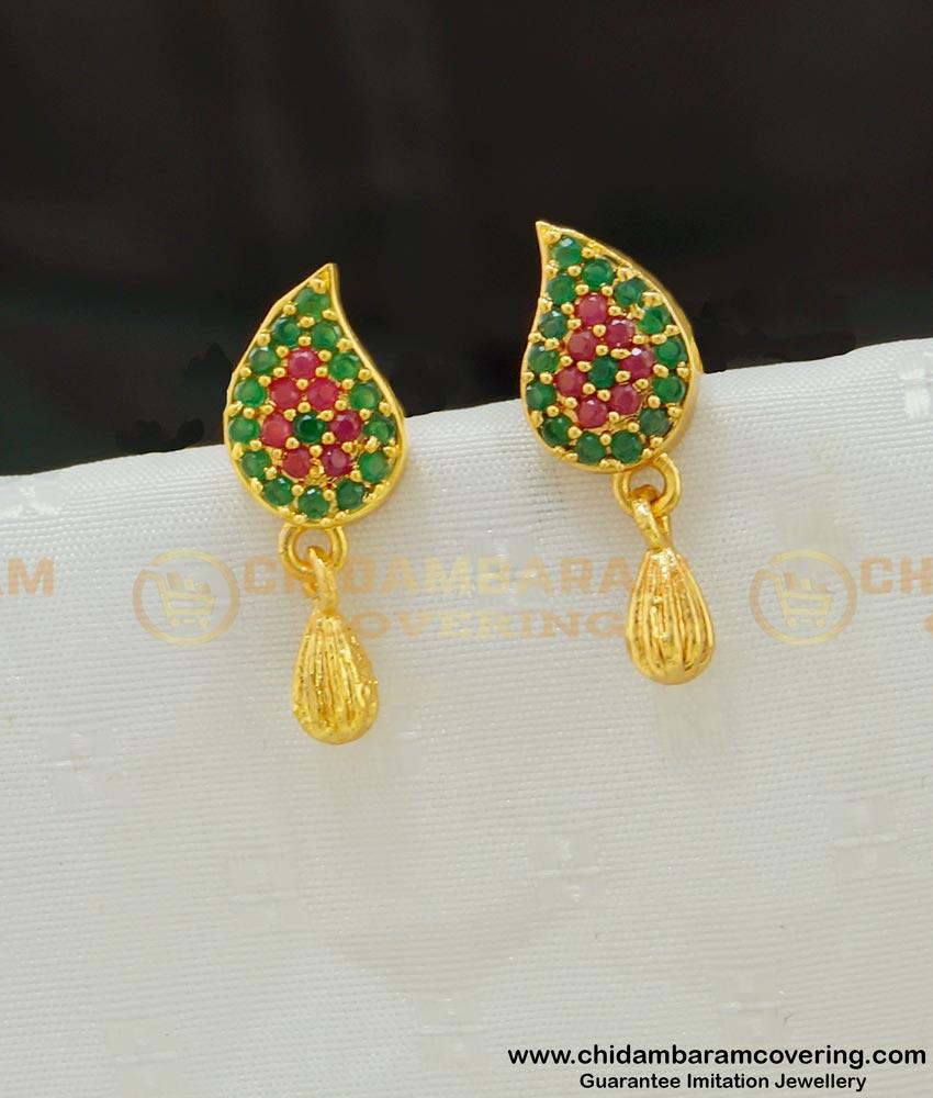 ERG529 - Trendy Ruby Emerald Mango Design Micro Gold Plated Small Stud Earrings