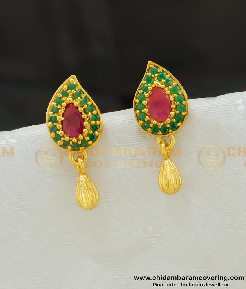 ERG530 - One Gram Gold Ruby Emerald Designer Gold Stud Stone Earring Buy Online