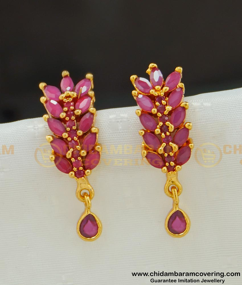 ERG535 - Attractive Gold Plated Party Wear Leaf Design Ruby Stone Studs Earring Imitation Jewellery