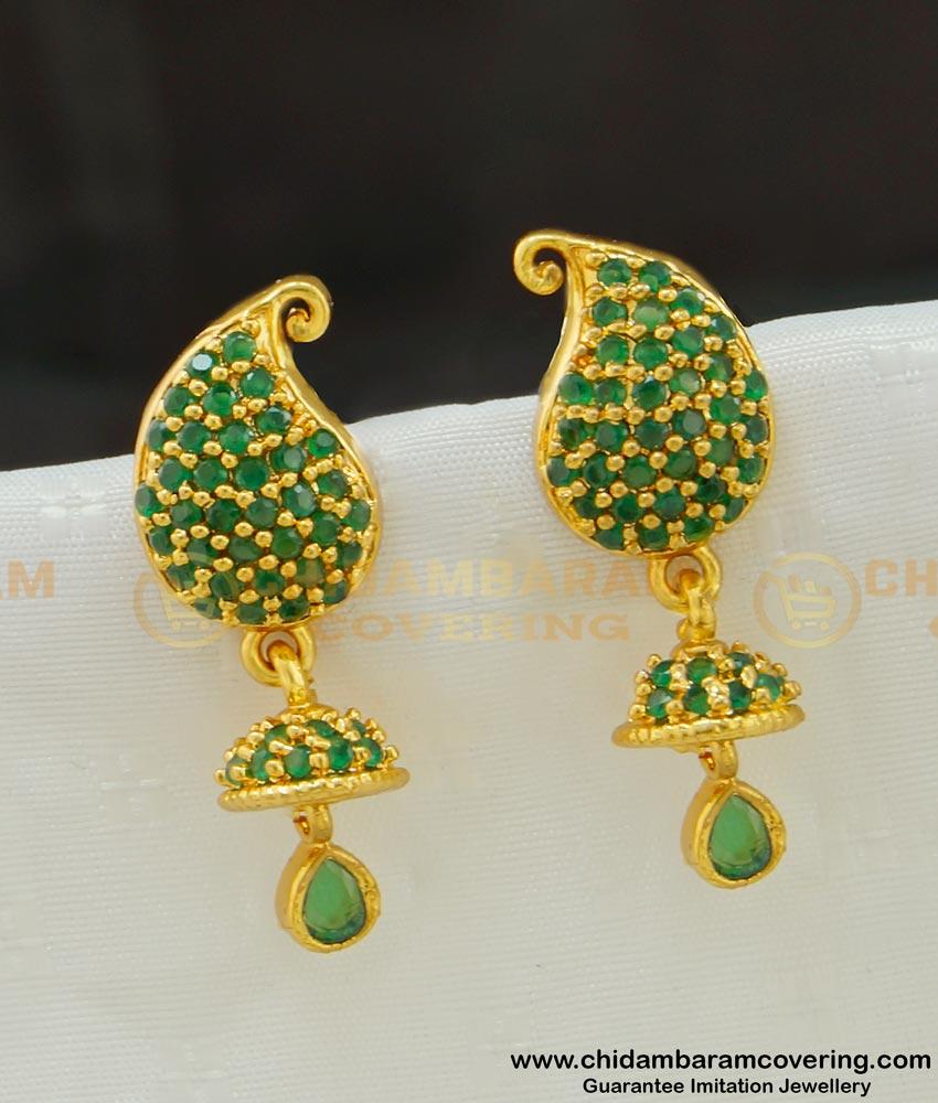 ERG536 - Most Beautiful First Quality Full Emerald Stone Mango Shape Jhumka Type Earring Gold Plated Jewellery