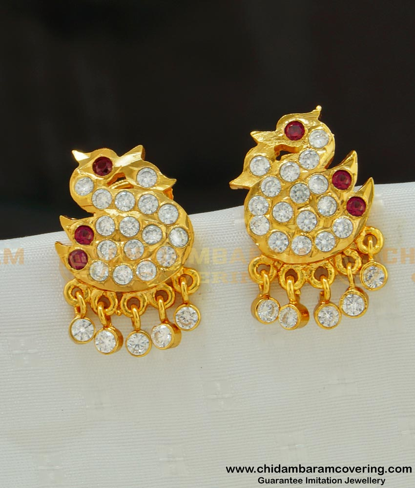 ERG537 - Gold Style Double Swan with Hanging Stone Drops Impon Stud Earrings
