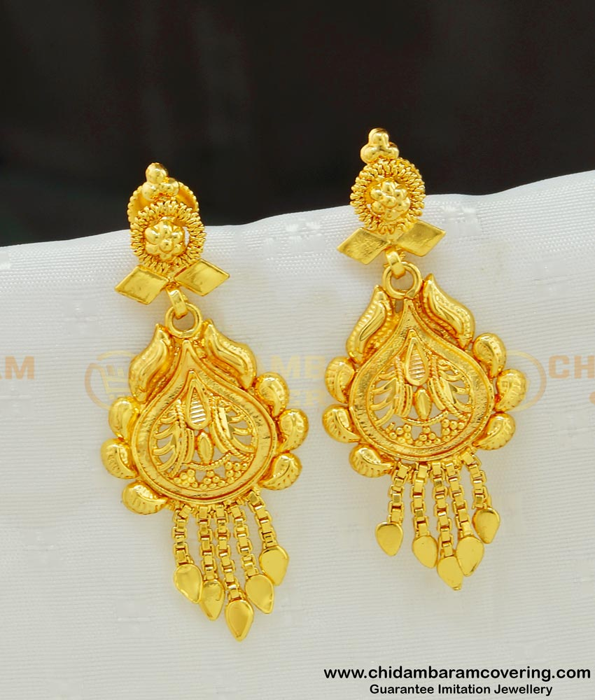 ERG541 - Daily Wear Light Weight Gold Inspired Earrings Gold Covering Jewellery