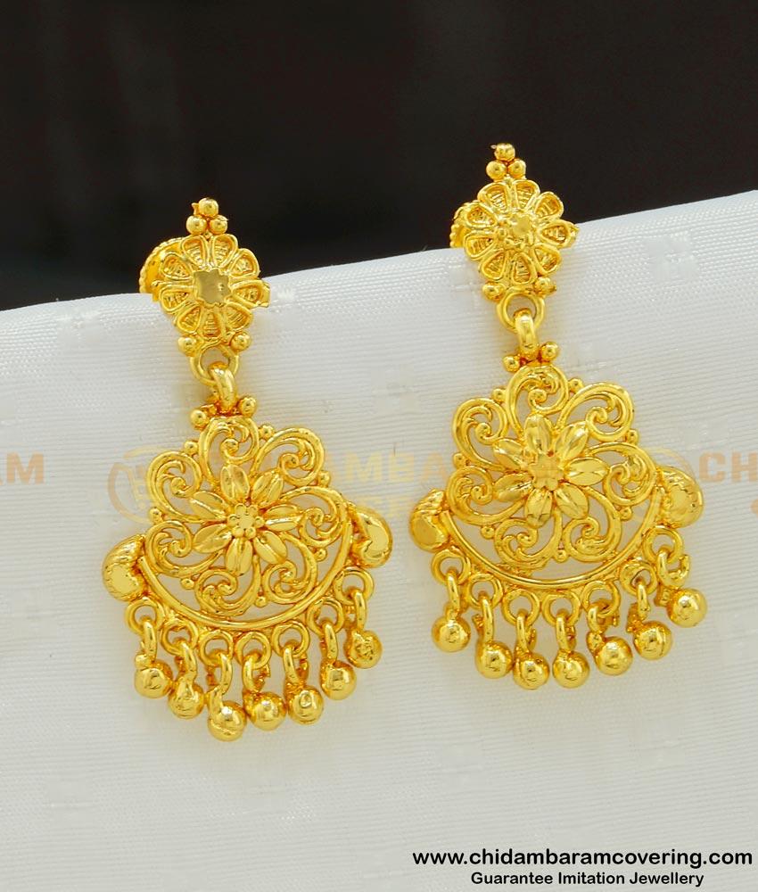 ERG542 - Latest Dangler Earrings Gold Flower Design One Gram Gold Jewellery