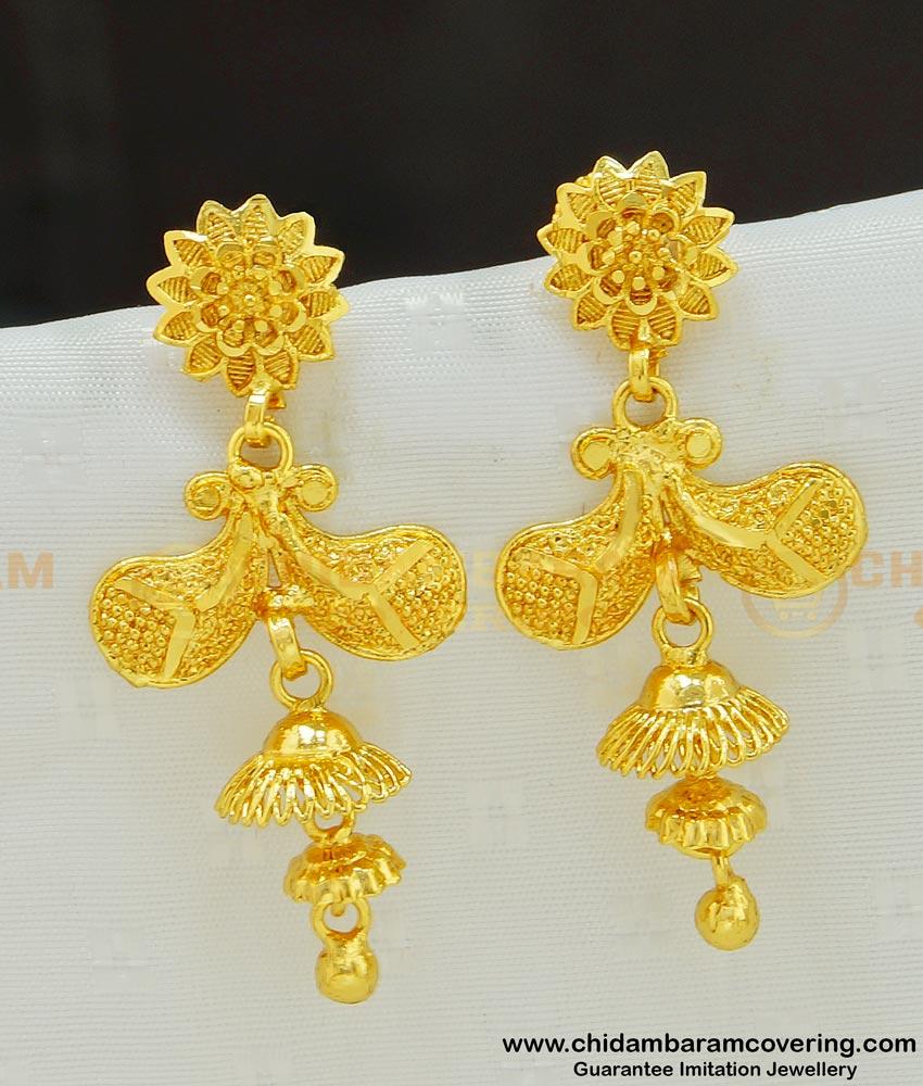 ERG543 - New Mango Design One Gram Gold Dangler Earrings for Girls